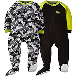 Gerber® 2-Pack Camo Footie Pajamas in Green/Grey