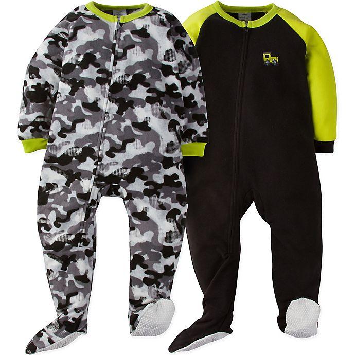 51b6fbf0d Gerber® 2-Pack Camo Footie Pajamas in Green/Grey | Bed Bath & Beyond