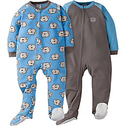 Gerber® 2-Pack Monkey Footie Pajamas in Blue/Grey