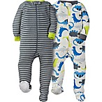 Gerber® Size 6M 2-Pack Dinosaur Footie Pajamas in White/Grey