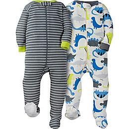 Gerber® 2-Pack Dinosaur Footie Pajamas in White/Grey