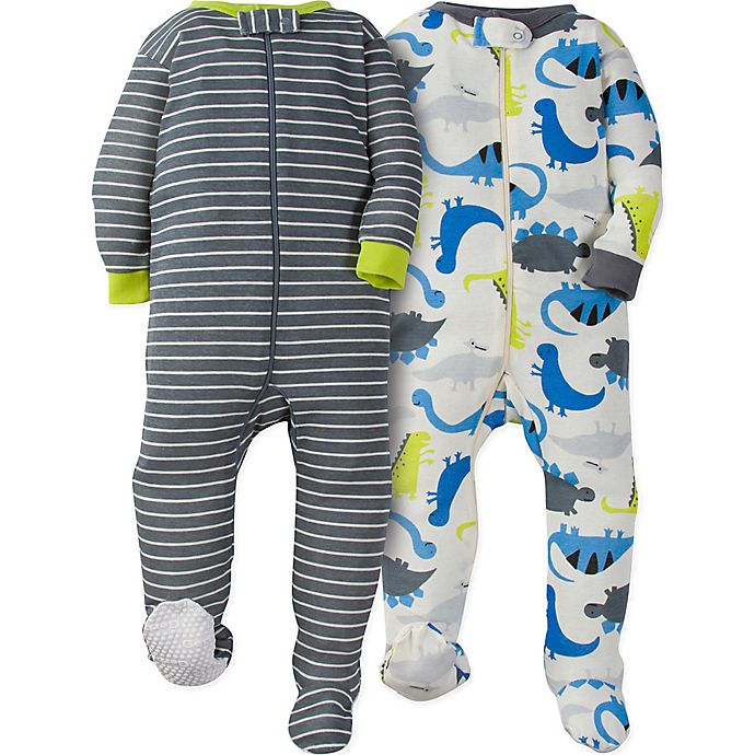 fa9874c0e Gerber® 2-Pack Dinosaur Footie Pajamas in White/Grey | Bed Bath & Beyond