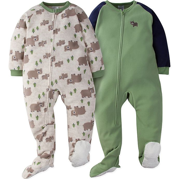 Alternate image 1 for Gerber® 2-Pack Wild Bear Footie Pajamas in Oatmeal/Green