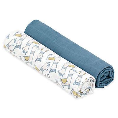 Lassig® Heavenly Soft Glama Lama 2-Pack Extra Large Swaddle & Burp Cloth Set