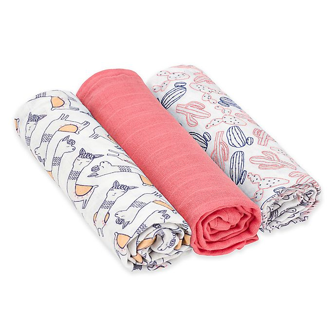 Alternate image 1 for Lassig® Heavenly Soft Glama Lama 3-Pack Swaddle & Burp Cloth Set