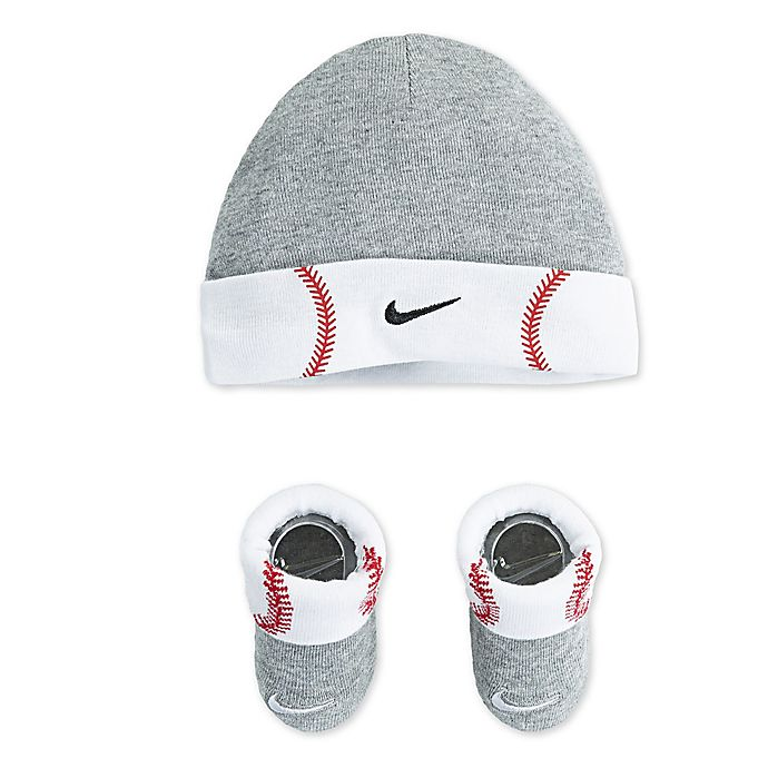 Alternate image 1 for Nike Futura Baseball Size 0-6M 2-Piece Hat and Bootie Set in Grey