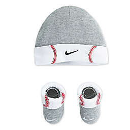 Nike Futura Baseball Size 0-6M 2-Piece Hat and Bootie Set in Grey