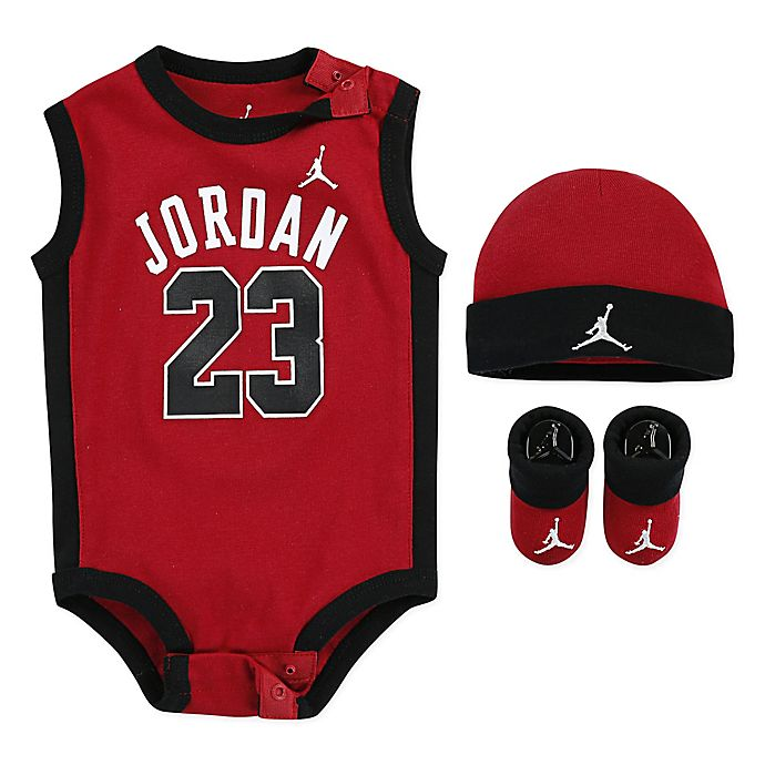 separation shoes 0c69b bd7c3 NIKE® Jordan 0-6M 3-Piece 23 Jersey Set in Red | Bed Bath ...
