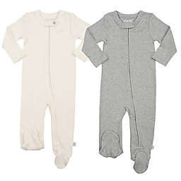 Finn + Emma® 2-Pack Organic Basics Footies in Grey