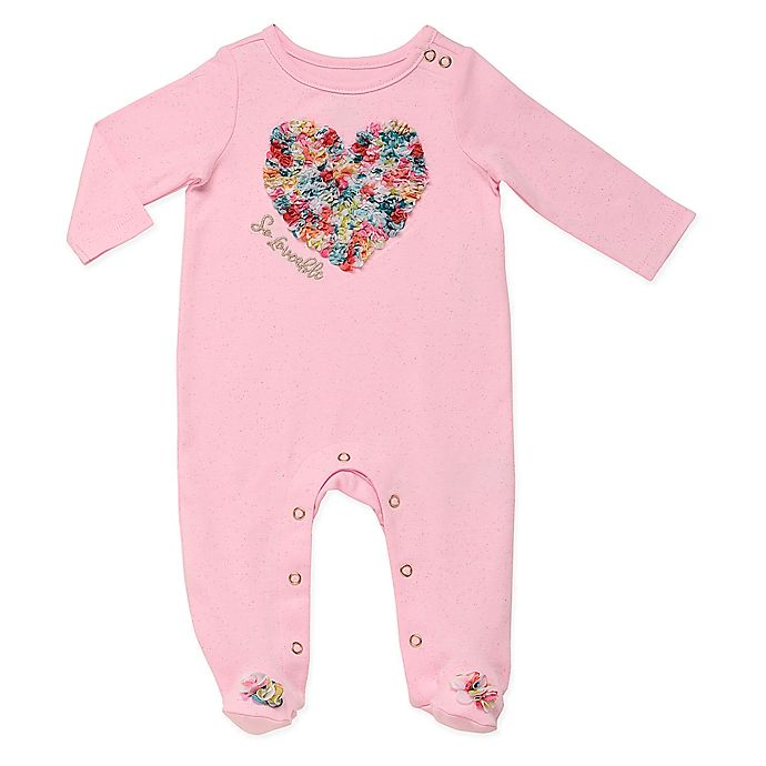 Alternate image 1 for Baby Starters® Size 9M So Lovable Chiffon Heart Sleep and Play Footed Coverall in Pink