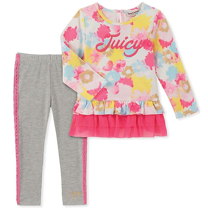 Alternate image 1 for Juicy Couture® 2-Piece Floral Top and Legging Set