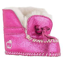 Lamo Glitter Suede Moccasin in Pink