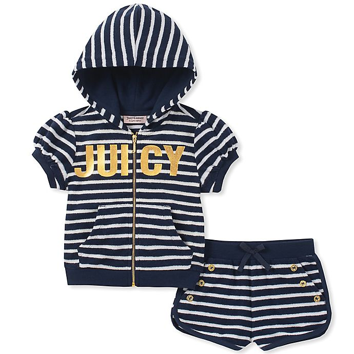 Alternate image 1 for Juicy Couture® 2-Piece Striped Hooded Top and Short Set in Navy