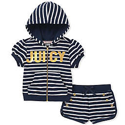 Juicy Couture® 2-Piece Striped Hooded Top and Short Set in Navy