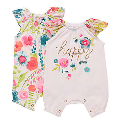Baby Starters® 2-Pack Spring Blossom Rompers in White