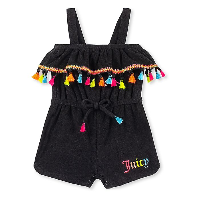 Alternate image 1 for Juicy Couture® Neon Tassel Romper in Black