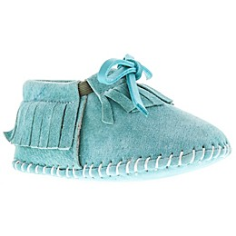 Lamo Fringe Suede Moccasin in Turquoise