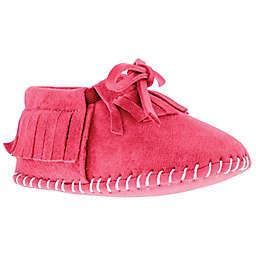 Lamo Fringe Suede Moccasin in Hot Pink
