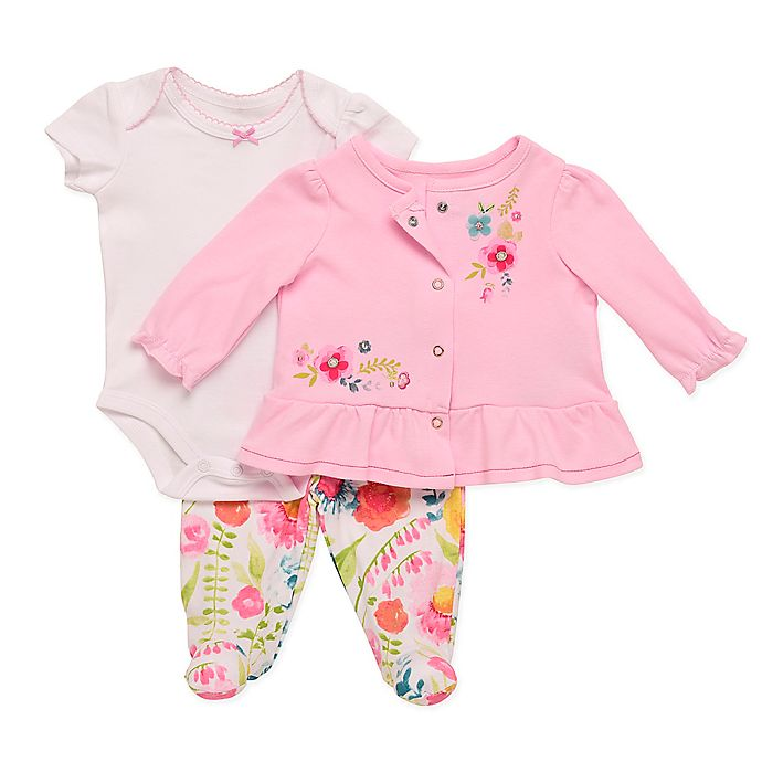 Alternate image 1 for Baby Starters® Spring Blossom Appliqued Cardigan, Bodysuit, and Footed Pant Set