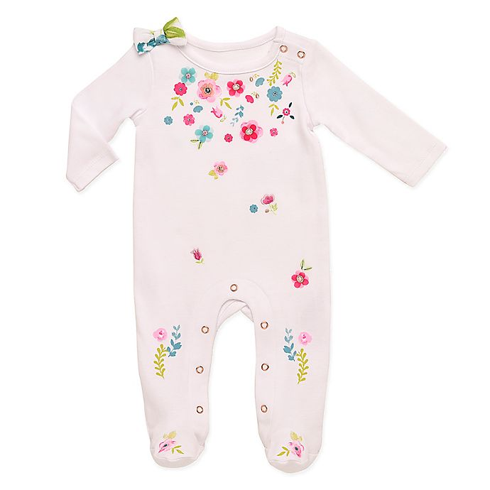 Alternate image 1 for Baby Starters® Spring Blossom Sleep and Play Footed Coverall in White