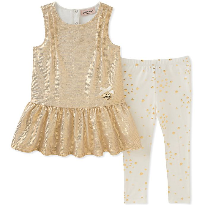 Alternate image 1 for Juicy Couture® Metallic Peplum Tank Top and Legging Set in Gold