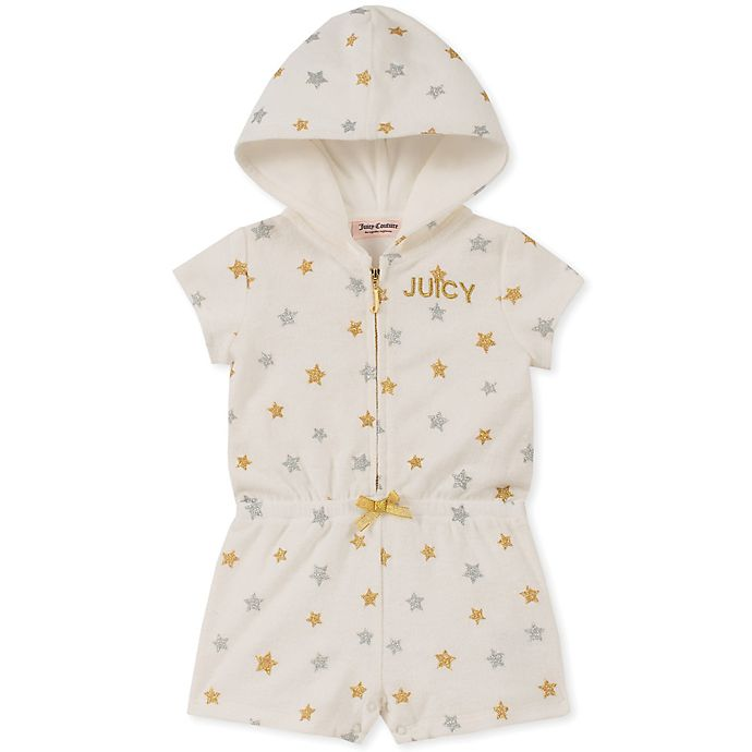 Alternate image 1 for Juicy Couture® Star Hooded Romper in Cream