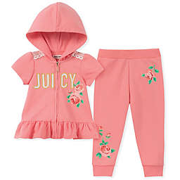 Juicy Couture® Floral Short Sleeve Zip-Front Hoodie and Legging Set in Pink