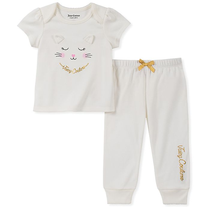 Alternate image 1 for Juicy Couture® Size 0-3M 2-Piece Cat Top and Rumba Leggings Set in Ivory