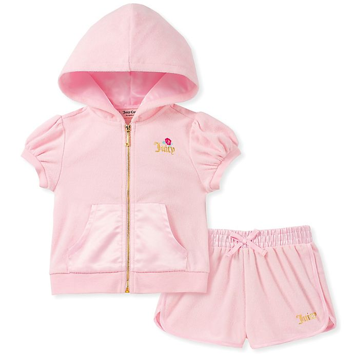 Alternate image 1 for Juicy Couture® 2-Piece Floral and Foil Logo Zip-Up Hoodie and Short Set