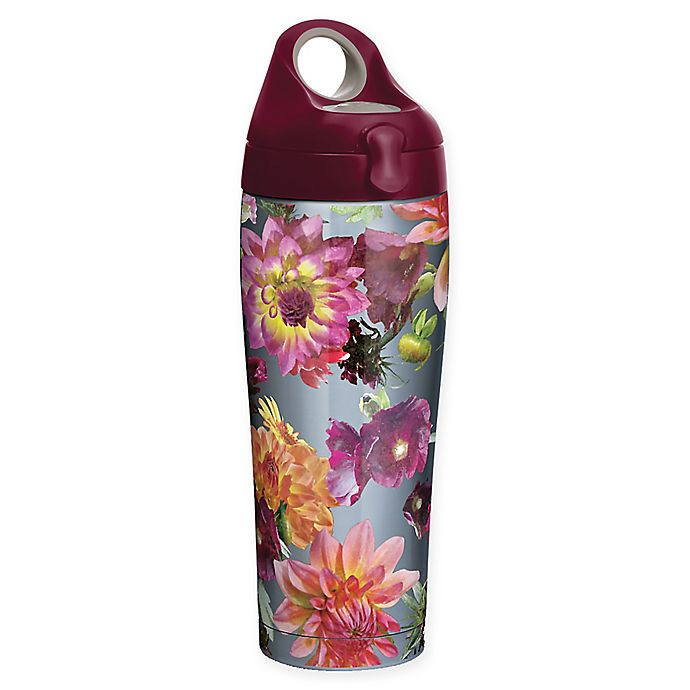 Alternate image 1 for Tervis® Romantic Floral 24 oz. Stainless Steel Water Bottle with Lid