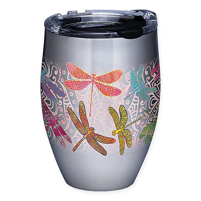 Alternate image 1 for Tervis® Dragonfly Mandala 12 oz. Stainless Steel Stemless Wine Glass with Lid