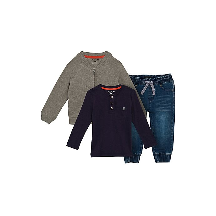 Alternate image 1 for Joes Size 4T 3-Piece Quilted Jacket, Shirt, and Denim Jogger Pant Set in Grey
