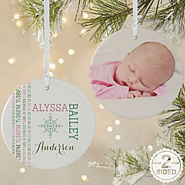 2-Sided Matte Darling Baby Photo Personalized Ornament- Large