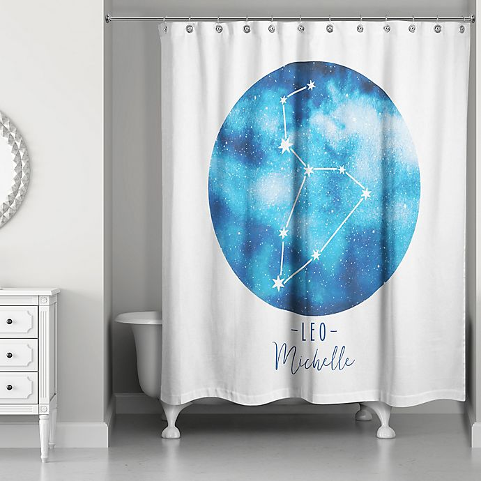 Alternate image 1 for Designs Direct Leo Zodiac Sign Constellation Shower Curtain in Blue