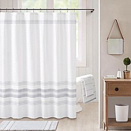 Bee & Willow™ Home Midsomer Striped Shower Curtain in White/Charcoal