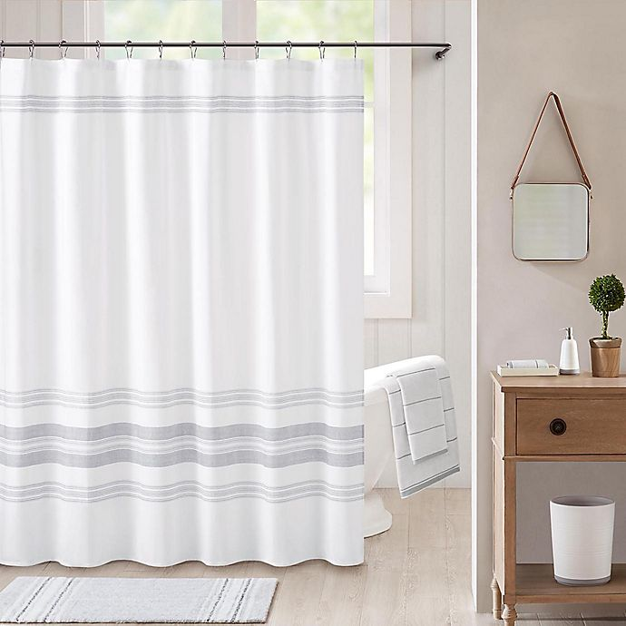 Alternate image 1 for Bee & Willow™ Home Midsomer Striped Shower Curtain in White/Charcoal