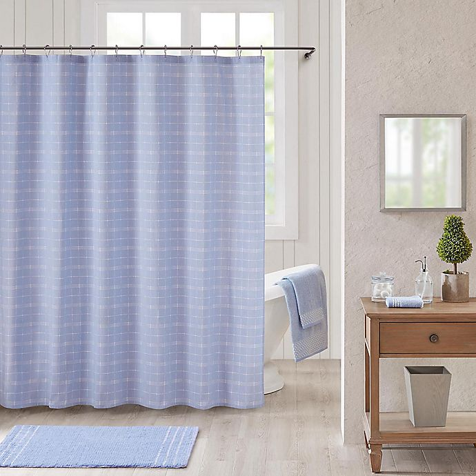Alternate image 1 for Bee & Willow™ Home Worthington Shower Curtain in Blue/White