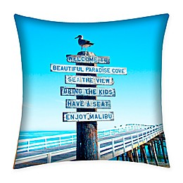 Destination Summer Malibu Sign Multicolor Indoor/Outdoor Square Throw Pillow