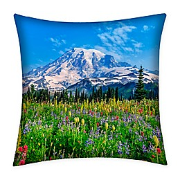 Destination Summer Mountain Rainier Multicolor Indoor/Outdoor Square Throw Pillow
