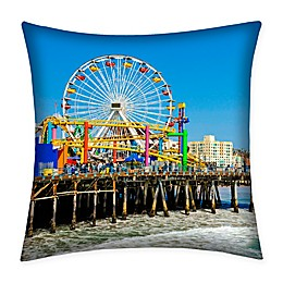 Destination Summer Santa Monica Pier Indoor/Outdoor Square Throw Pillow