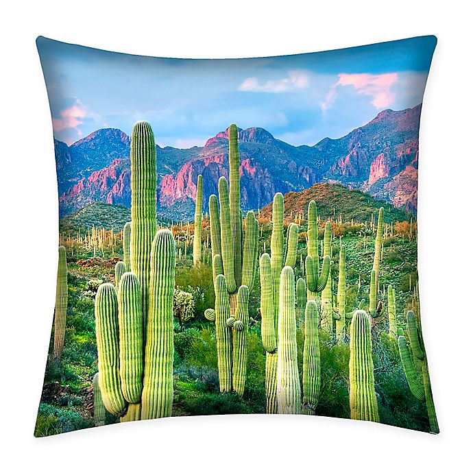 Alternate image 1 for Destination Summer Cactus Indoor/Outdoor Square Throw Pillow