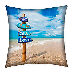 Destination Summer Beach Sign Indoor/Outdoor Square Throw Pillow