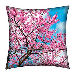 Destination Summer Cherry Blossom Indoor/Outdoor Square Throw Pillow