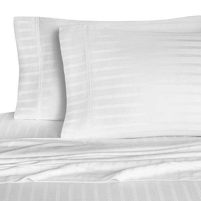 Alternate image 1 for Eucalyptus Origins™ 600-Thread-Count Stripe Queen Sheet Set in White