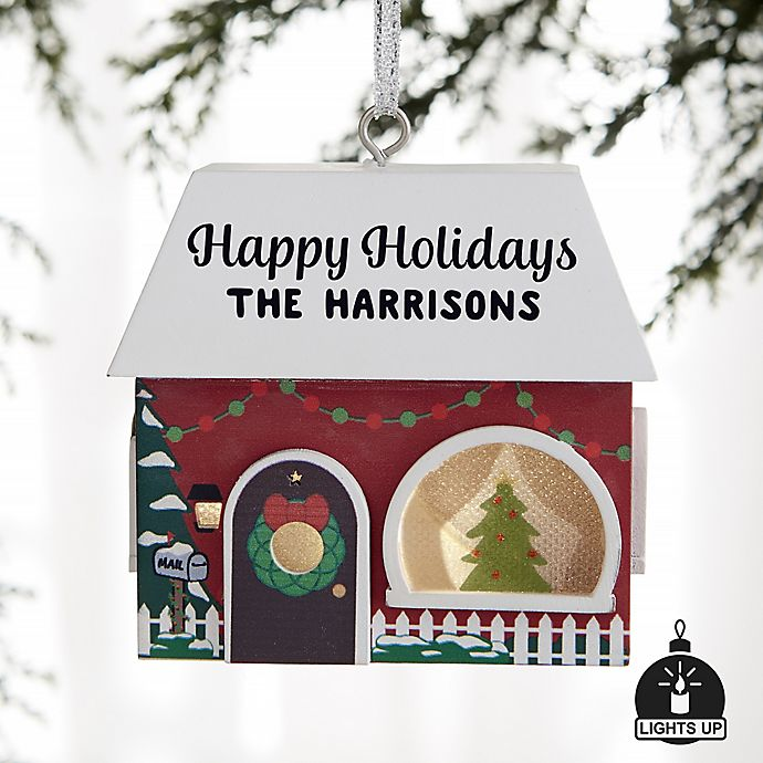 Alternate image 1 for Christmas House Personalized Light-Up Christmas Ornament