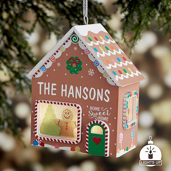 Alternate image 1 for Gingerbread House Personalized Light-Up Christmas Ornament
