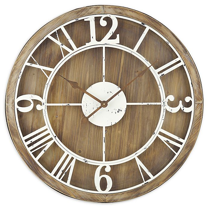 Alternate image 1 for Sterling & Noble™ Farmhouse Collection Rustic Wood and Iron Wall Clock in Brown/Cream