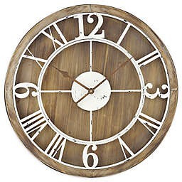 Sterling & Noble™ Farmhouse Collection Rustic Wood and Iron Wall Clock in Brown/Cream