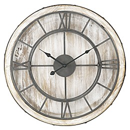 Sterling & Noble™ 20-Inch Farmhouse Collection Wrought Iron Wall Clock in White