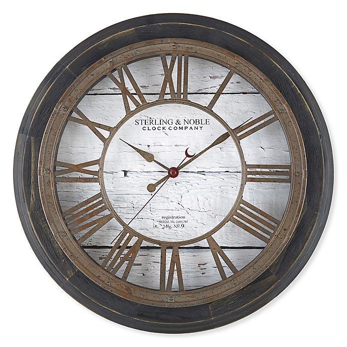 Sterling Noble Farmhouse Collection Roman Grill 15 5 Inch Wall Clock In Black Bed Bath Beyond